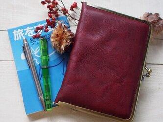 牛革・濃いシボ赤 がま口 手帳・母子手帳・ほぼ日にもの画像