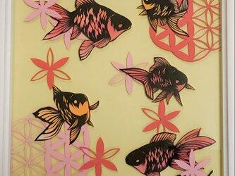 額装済み切り絵作品・金魚の画像