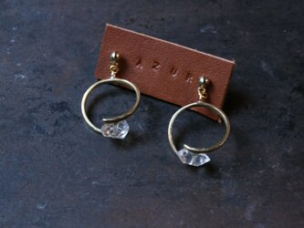 真鍮とハーキマーダイヤモンドのピアス2の画像