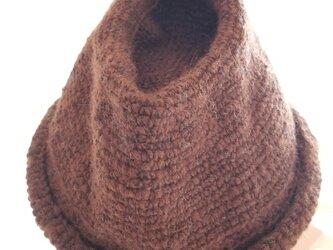 手編み中折れハット赤茶の画像