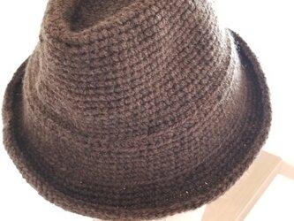 手編み中折れハット茶の画像