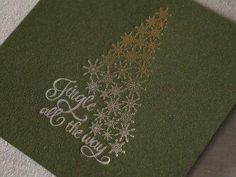 クリスマスカード ツリー 活版印刷の画像