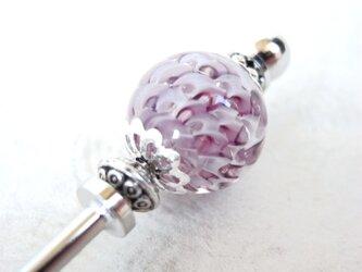 かんざし 渦巻き模様のとんぼ玉 紫の画像