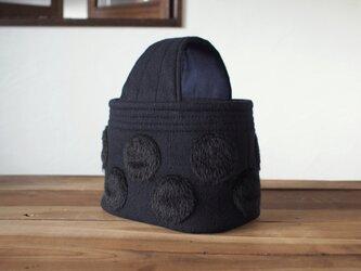 ウール 水玉 ワンハンドル トートバッグ 濃紺の画像