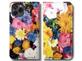 【両面デザイン】 iPhoneケース 手帳型 レザーケース カバー(花柄×ブラック)フラワーアート 12/12ミニの画像