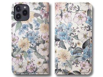 【両面デザイン】 iPhoneケース 手帳型 レザーケース カバー(花柄×ブラック)ヴィンテージパステルフラワー ボタニカルの画像