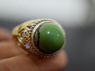 85-9 特売 大玉 一粒 本物 天然 トルコ石 メンズ リング 緑 ターコイズ 指輪 プレゼント 誕生日 レディースの画像