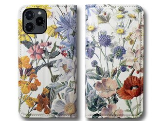 【両面デザイン】 iPhoneケース 手帳型 レザーケース カバー(花柄×ブラック)ヴィンテージフラワー ボタニカルの画像