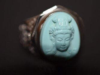 85-13 一点物 本物 天然トルコ石 ターコイズ メンズ リング 指輪 手彫り 仏像 観音 レディースの画像
