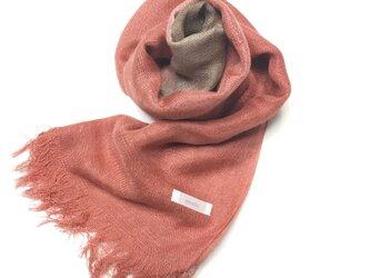 国産シルク100%手描き染めストール 赤紅&樺茶色の画像