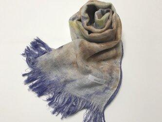 国産シルク100%手描き染めストール 青紫&向日葵色&胡桃色の画像