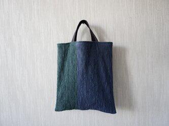 裂き織りのくたっり手さげバッグ 鉄紺×ボトルグリーンの画像