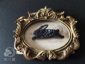 ブローチ【兎】黒の画像