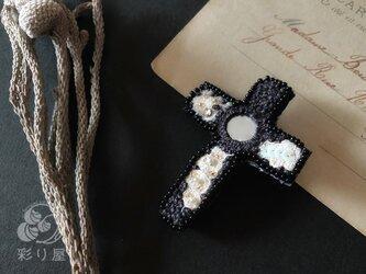 ブローチ【十字架】ラテン型黒の画像