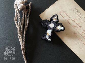 ブローチ【十字架】黒の画像