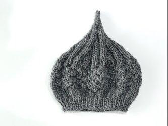 数量限定!ウールどんぐりニット帽子 新作  グレーの画像
