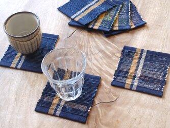 紺地&2色のライン・かわいいサイズの裂き織りコースター3枚セット 木綿・手織りの画像