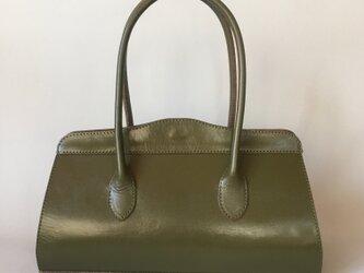 コンパクトなレザーハンドバッグ 栃木レザー オリーブグリーン の画像
