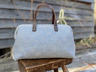 Boston bag  M size [Växbo Lin] 青の画像
