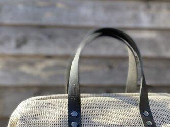 Boston bag  M size [Växbo Lin] 白と黒の砂模様の画像