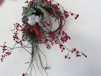 お正月リースー野ばらと綿の実ーの画像