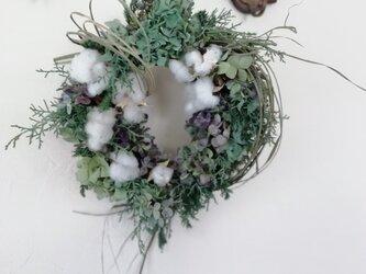 お正月リースー紫陽花と綿の実ーの画像