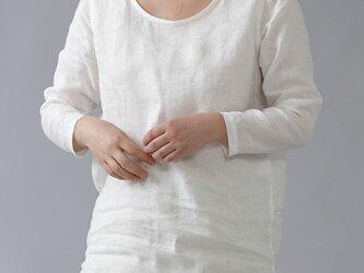 【Lサイズ】【wafu】雅亜麻リネン インナー ラウンドカット  黄金比率のネック角度/白色 p008a-wht1-lの画像