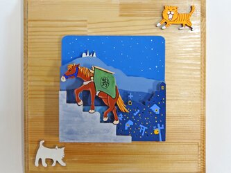 「長崎の街と対州馬」~ 立体ウォール・デコ 焼桐 20×20×13 の画像