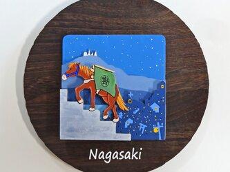 「長崎の街と対州馬」~ 立体ウォール・デコ 焼桐 20Φ × 13の画像
