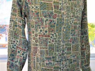 S サイズ  シャツカラー長袖  着物リメイク:平凡なシャツ!の画像