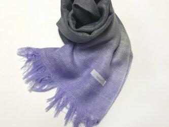 国産シルク100%手描き染めストール 青紫&薄墨色の画像