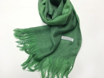 国産シルク100%手描き染めストール 千歳緑&緑の画像