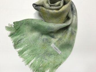 国産シルク100%手描き染めストール 若緑&菜の花色&灰色の画像