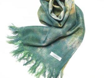 国産シルク100%手描き染めストール 緑青色&菜の花色の画像