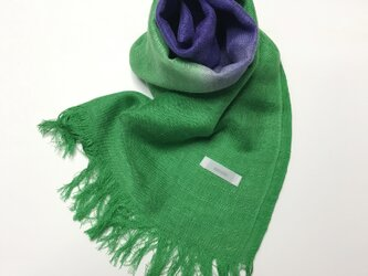国産シルク100%手描き染めストール 緑&菖蒲色の画像