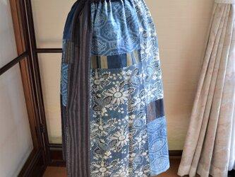 木綿 藍色 型染の古布からギャザースカート J-42の画像