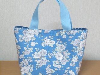 ミニトートバッグ★花柄(ブルー)の画像