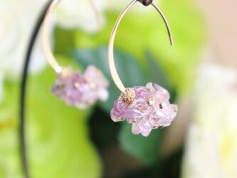 アメジスト細石のピアス~Pink Amethyst Pebbles Earringsの画像
