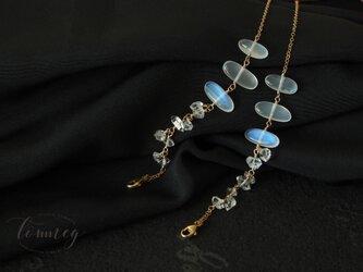 ブルームーンストーンとハーキマーダイヤモンド ジュエリーマスクホルダーの画像
