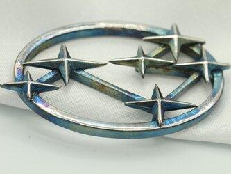旧スバル6連星マーク 高級希少金属コバルト製キーホルダーの画像
