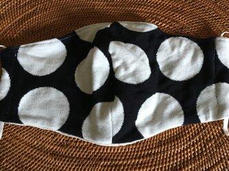 立体マスク 水玉カットソー黒白Lの画像