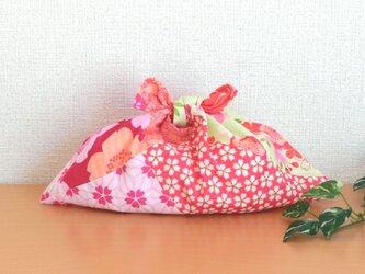 あずま袋 はんなり和柄 赤ピンク系 小物収納 お弁当箱 ファスナー無しのバッグインにもの画像