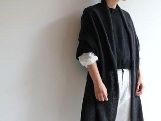 手編み機で編んだカシミアセーブル大判ストール チャコールグレーの画像