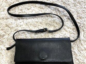 イタリアンレザー「アリゾナ」の2way長財布・ブラックの画像