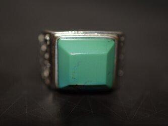 85-25 上品 大玉 天然 トルコ石 メンズ リング 四角 青緑 ターコイズ 指輪 プレゼント 誕生日 レディースの画像