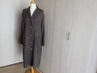 手織り紬のコート 裏地も絹の画像