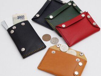 仕切りのあるミニマルなL字型スナップボタン財布【総手縫い 本革 レザー/受注生産】の画像