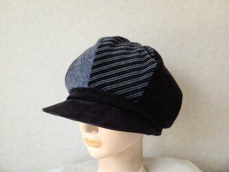 魅せる帽子☆ふんわり♪大きめグラデーションキャスケット~ライトモノトーンの画像