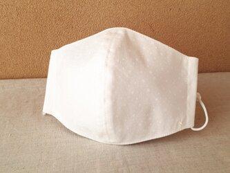 立体マスク[L]*白い星屑×抗菌加工ダブルガーゼ(白)の画像