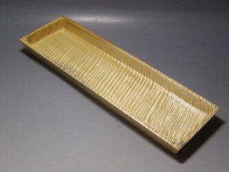 栃縮杢角プレート一文字盆 ガラスコート仕上げ の画像